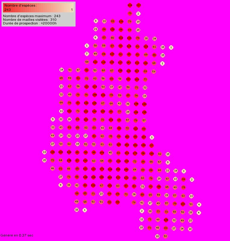 Cartes de répartition (toutes espèces) faune champagne